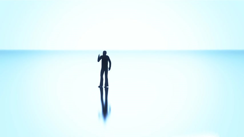 население : Silhouettes of a crowd of people on a reflective surface past a bright background