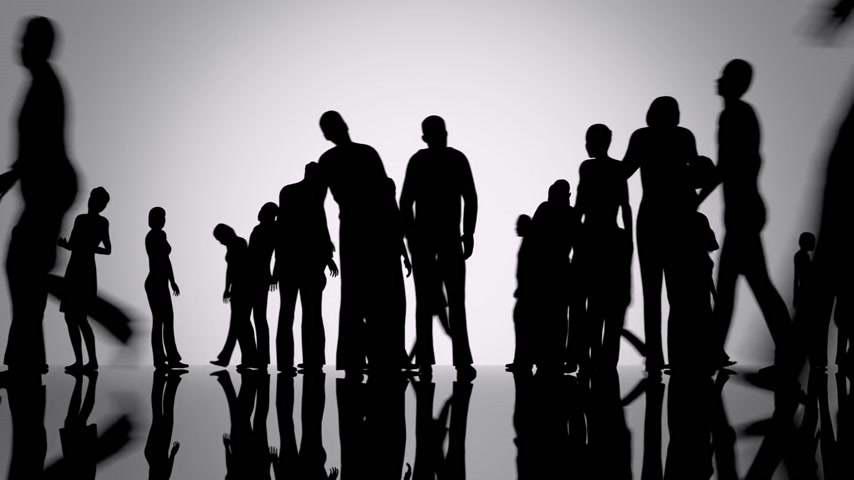 diversidade : Silhouettes of a crowd of people walking on a reflective black surface past a bright background Vídeos