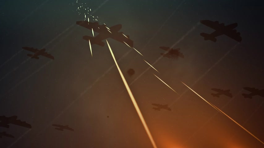 samoloty : Squadron of planes flying overhead with fiery trails of tracers, flak or projectiles streaking up towards them as ammunition fired in combat or during a gunnery training exercise.