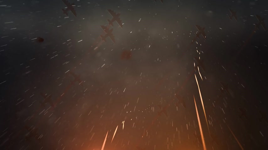 war : Squadron of planes flying overhead with fiery trails of tracers, flak or projectiles streaking up towards them as ammunition fired in combat or during a gunnery training exercise.