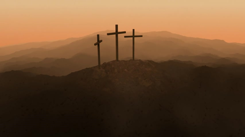 evangélium : Atmospheric dark image of three crosses silhouetted on the skyline on top of a mountain conceptual of the Crucifixion of Christ.