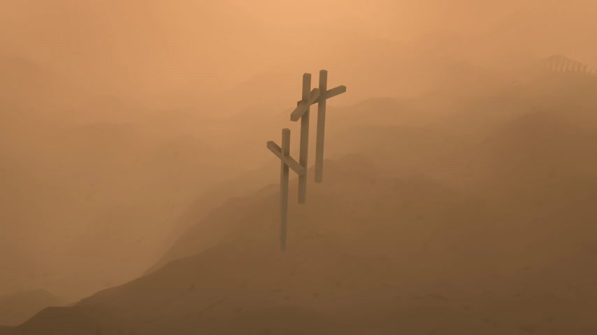 jezus : Atmospheric dark image of three crosses silhouetted on the skyline on top of a mountain conceptual of the Crucifixion of Christ.