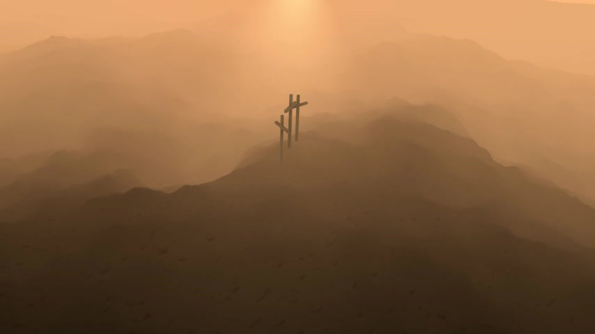 capital punishment : Atmospheric dark blue image of three crosses silhouetted on the skyline on top of a mountain conceptual of the Crucifixion of Christ.