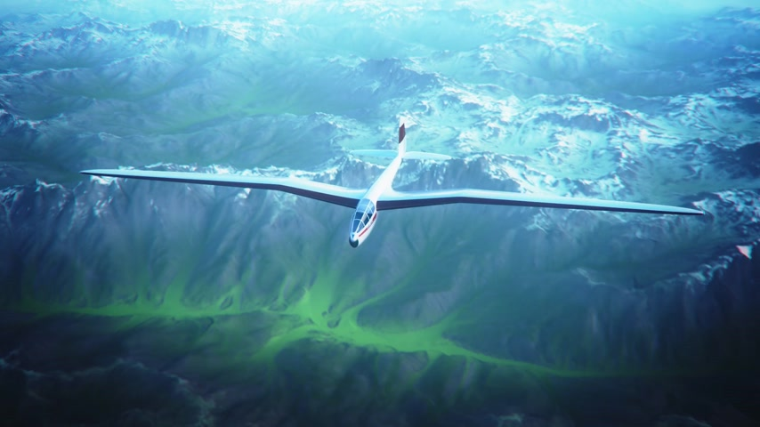 tek renkli : Blue and white monochrome animation of a sailplane soaring over snow covered mountains. Stok Video