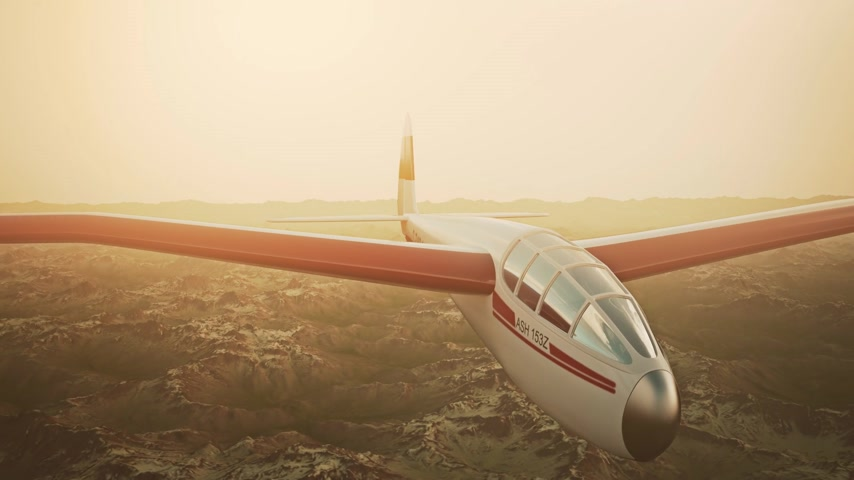 tek renkli : Sepia toned animation of a sailplane soaring over snow covered mountains. Stok Video
