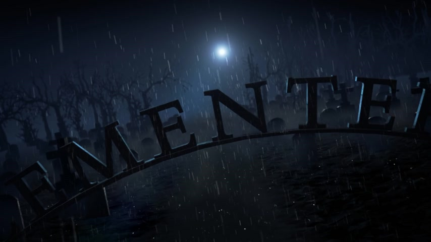 cementery : Wrought iron arched Cemetery sign on a misty moonlit night with ghostly graves, crosses and silhouetted trees in a Halloween or horror concept.
