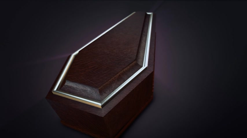 trumna : Closed coffin surrounded with an ethereal purple glow of radiating light on a dark background in a spiritual, Halloween or horror concept, high angle view.