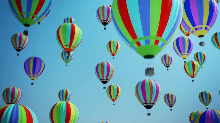 from air : Multicolored Hot Air Balloons Flying In Blue Sky