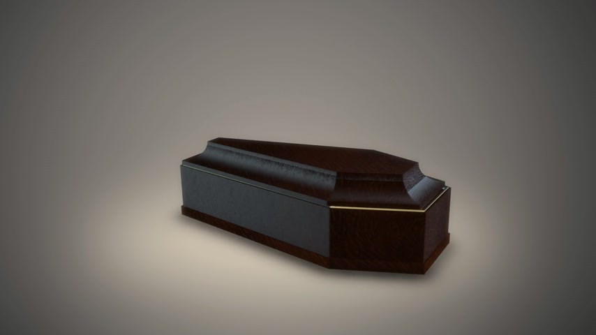 defin : Wooden empty coffin opens itself. Halloween or horror concept. Stok Video