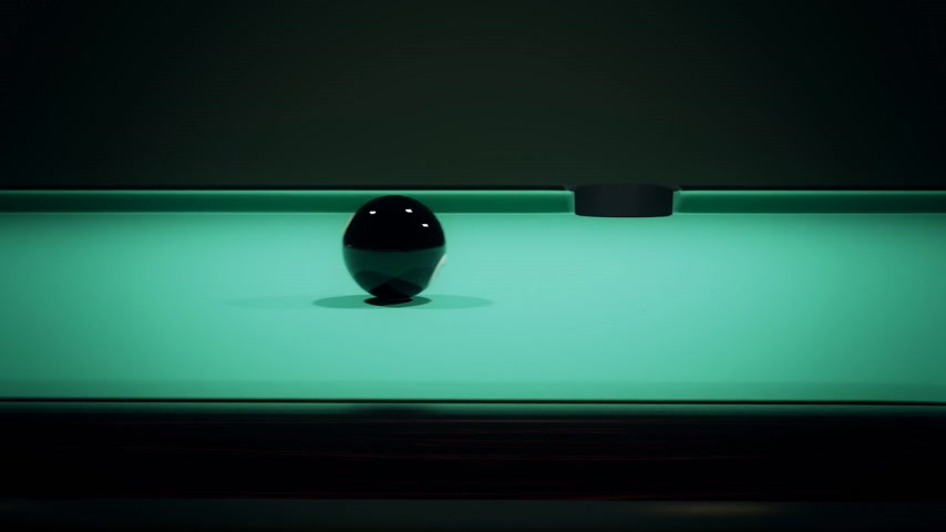 bolas : Black billiard ball on the green baize of a billiard table. Player quickly pockets 8 ball into a boundary pocket.