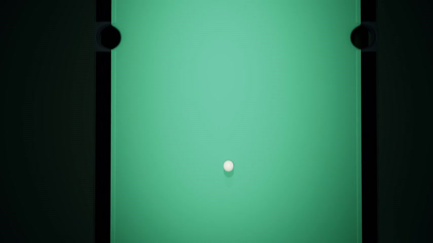 concentrando : Billiard balls on the green baize of a billiard table. Top view of breaking the rack in pool. Strong shot of cue ball. One ball falling into pocket.