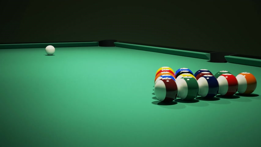 concentrando : Billiard balls on the green baize of a billiard table. Breaking the rack in pool.Strong shot of cue ball.