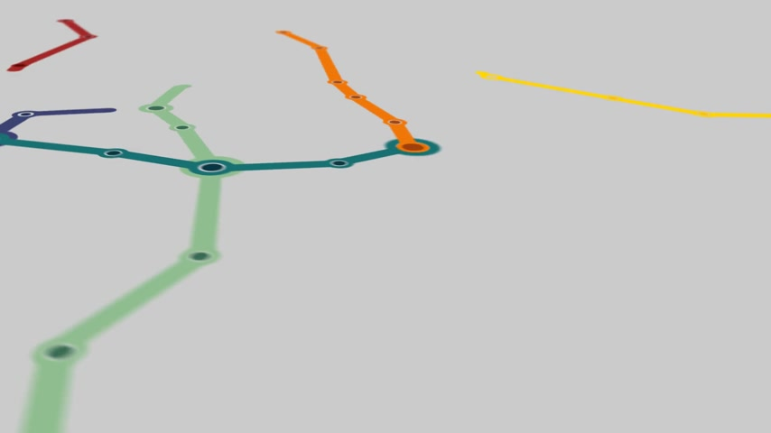 genérico : Animation of a generic metro plan of big city. Growing network of public transport connections.