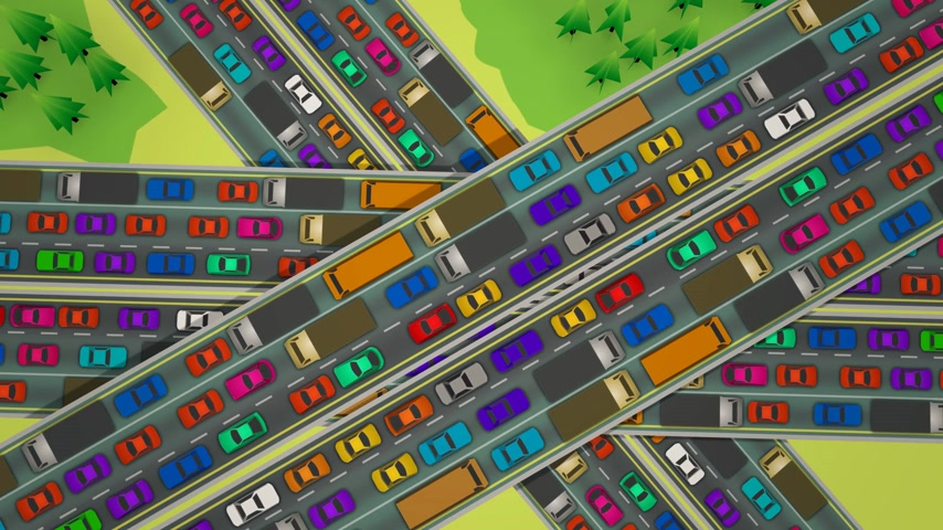 jam : Loopable animation looking straight down of slow moving bumper to bumper traffic jam on three busy highways crossing each other.