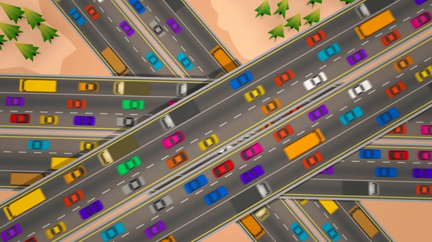 мостовая : Animation looking straight down over three busy highways crossing each other.