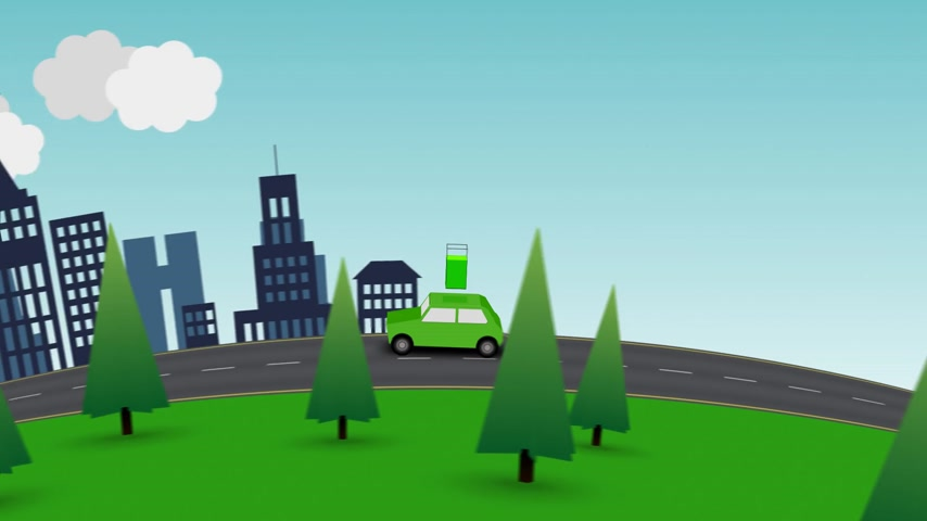 recharging : Loopable color animation of a red car travelling from the city to the country as its power gauge slowly drops, until the car returns home to recharge.