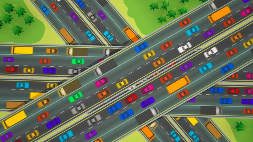 motor vehicle : Animation looking straight down over three busy highways crossing each other.