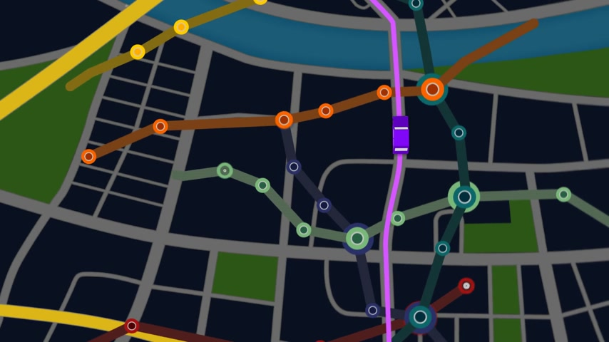 rota : Elevated View Of Car Moving Forward On Gps Navigator with colorful city metro scheme. Night view.