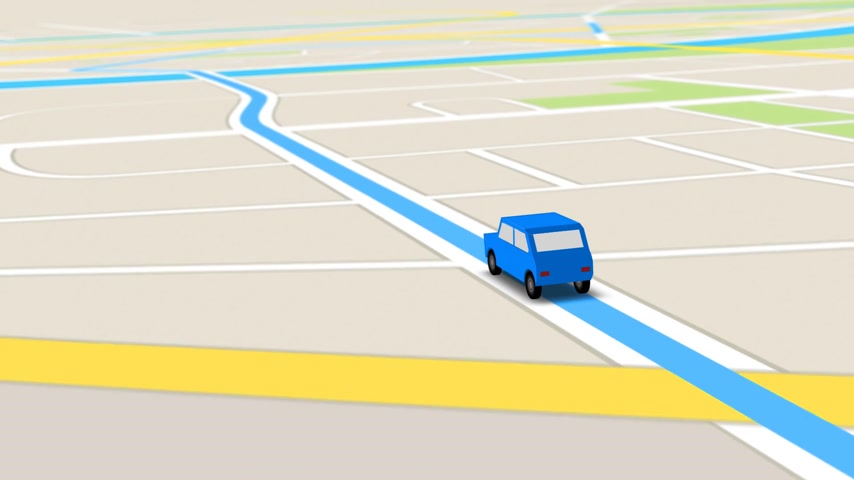 rota : Color animation of blue car as it follows a route generated by GPS along city streets. Vídeos