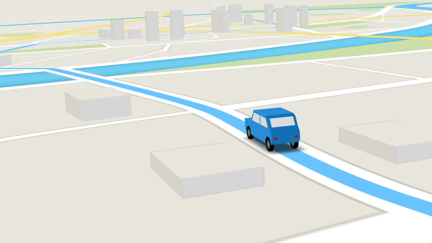 diretamente : Color animation of blue car as it follows a route generated by GPS along city streets. Stock Footage
