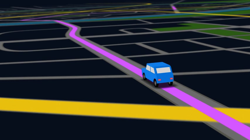 diretamente : Color animation of blue car as it follows a route generated by GPS along city streets. Night view.