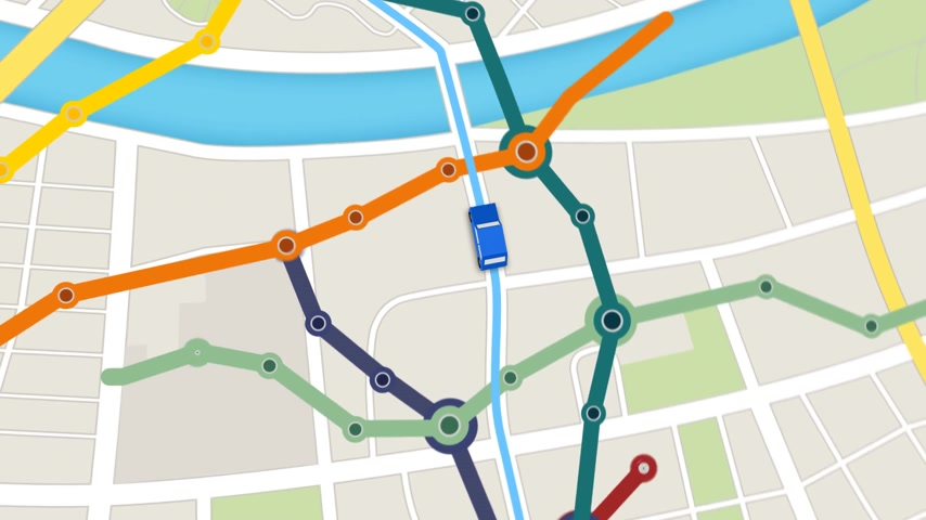 rota : Elevated View Of Car Moving Forward On Gps Navigator with colorful city metro scheme.
