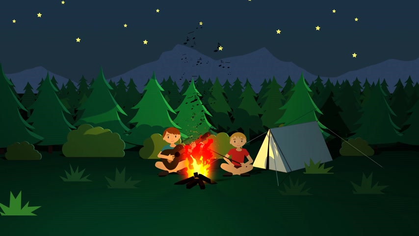 хрупкость : Campfire Kids Roasting Sticks With Marshmallows In Front Of The Tent. Стоковые видеозаписи