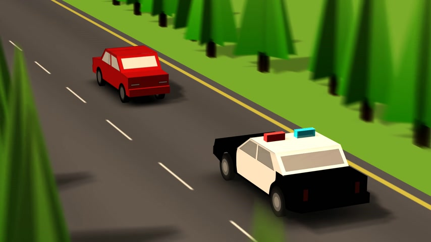 auxiliar : Footage Of Speeding Police Car With Flashing Lights Chasing Red Car. Stock Footage