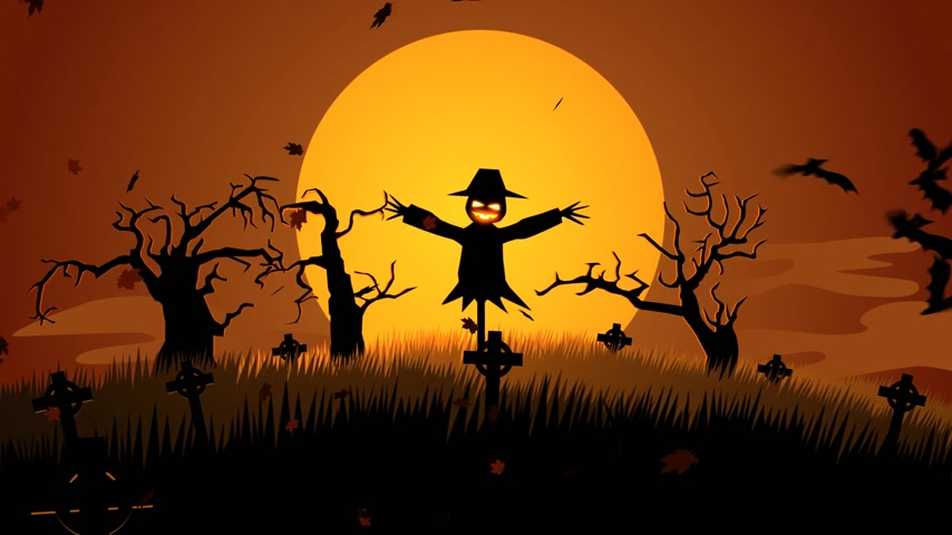 perili : Scary Halloween Scarecrow In Graveyard Stok Video