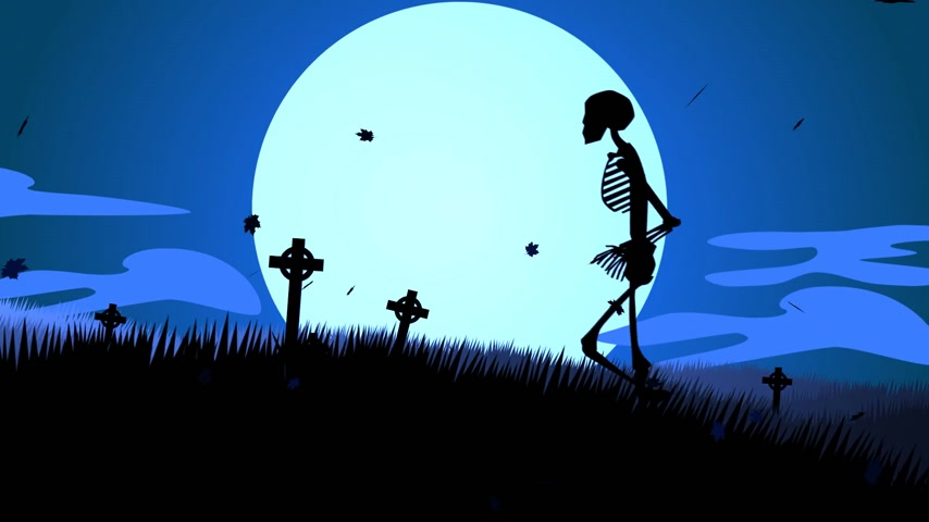 október : Silhouette Of Human Skeletons Walking In Spooky Graveyard At Halloween Night