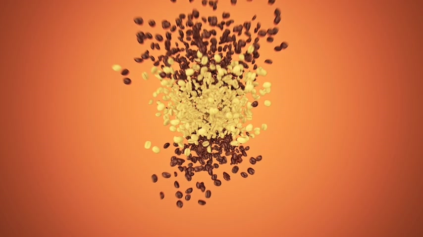 feketés csésze : Zoom In Of Paper Coffee Cup Made From Coffee Beans On Orange Stock mozgókép