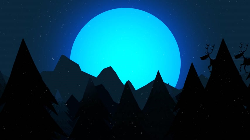 świety mikołaj : Silhouette Of Santa Riding On Reindeer Sledge With The Moon In The Background