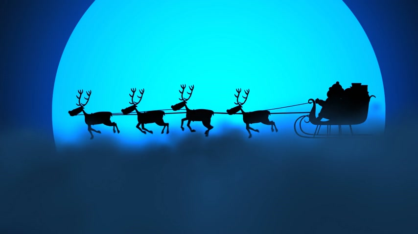 silhueta : Silhouette Of Santa Riding On Reindeer Sledge With The Moon In The Background