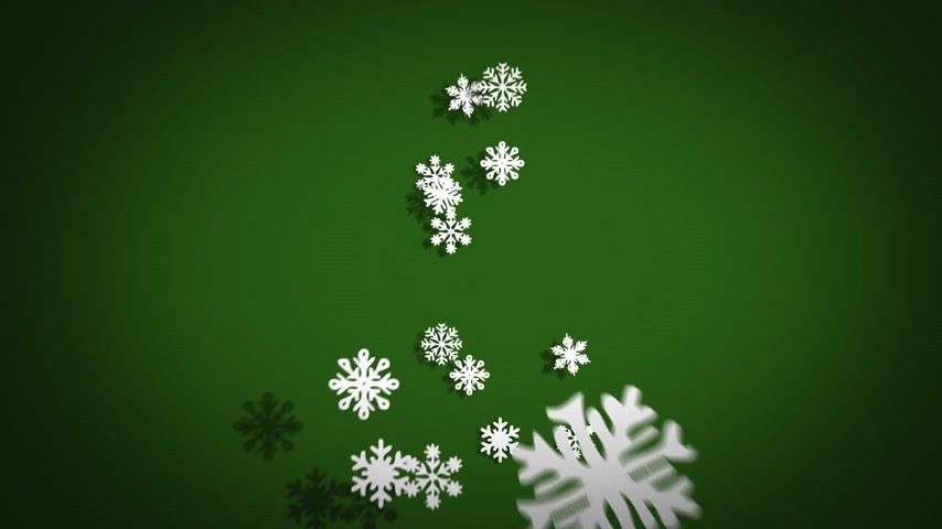 noel kartı : Freezing Christmas Tree Made Of Snowflakes On Green Background