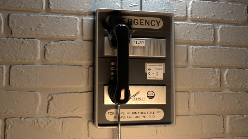 conectado : Close-up Of An Emergency Telephone On Brick Wall Stock Footage