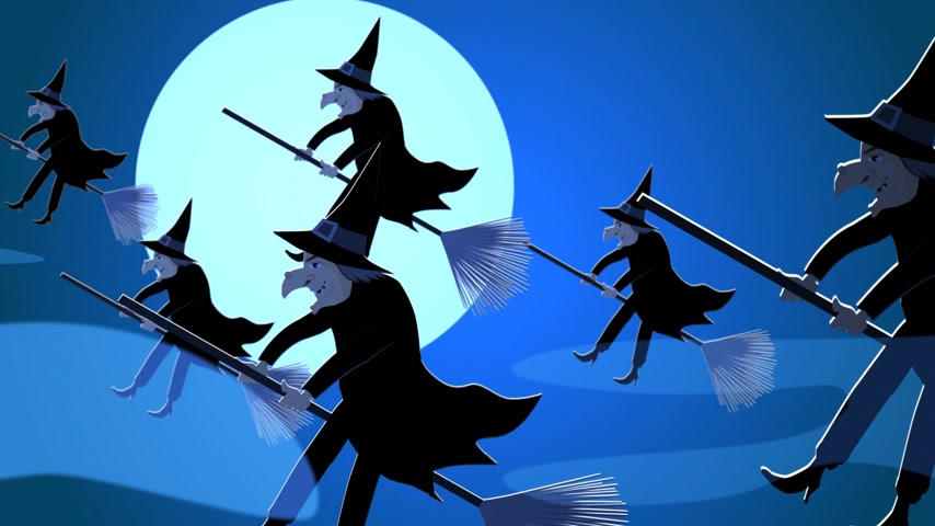 perverso : Halloween Witches Flying On A Broomsticks Against A Full Moon At Night