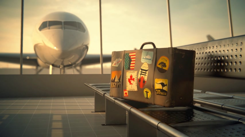 bagagem : Suitcase With Worlds Famous Travel Destinations Labels At Airport Vídeos