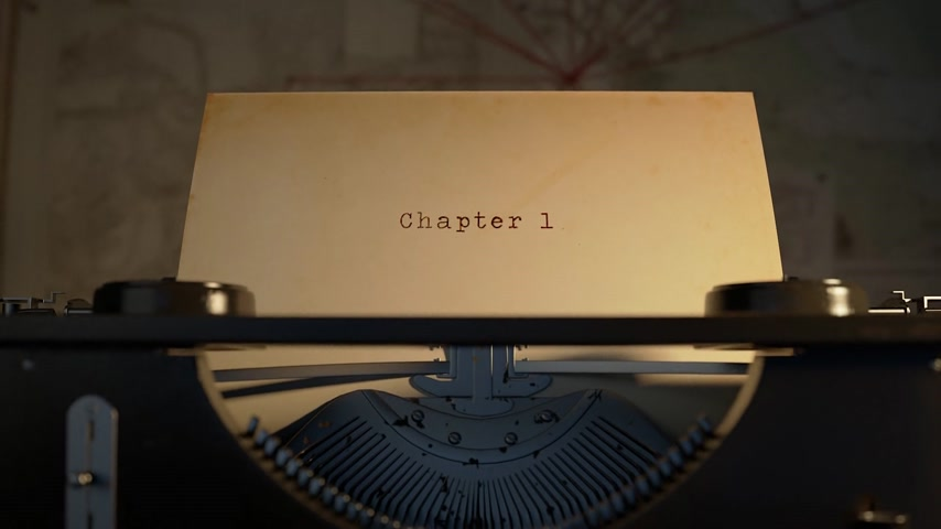 commencement : Chapter 1 Written On An Old Typewriter On Desk Stock Footage