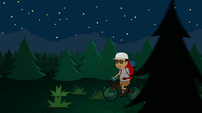 хрупкость : Man Riding Bicycle At Night In Forest