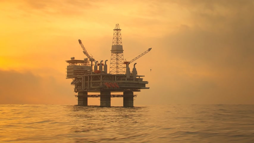broca : Silhouette Of An Oil Rig Drilling Platform At Sunset