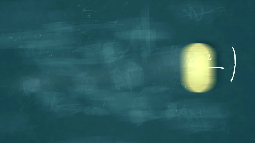 teoria : Animation presents mathematical formulas writing on a blue board by moving chalk and erasing by a rubber.