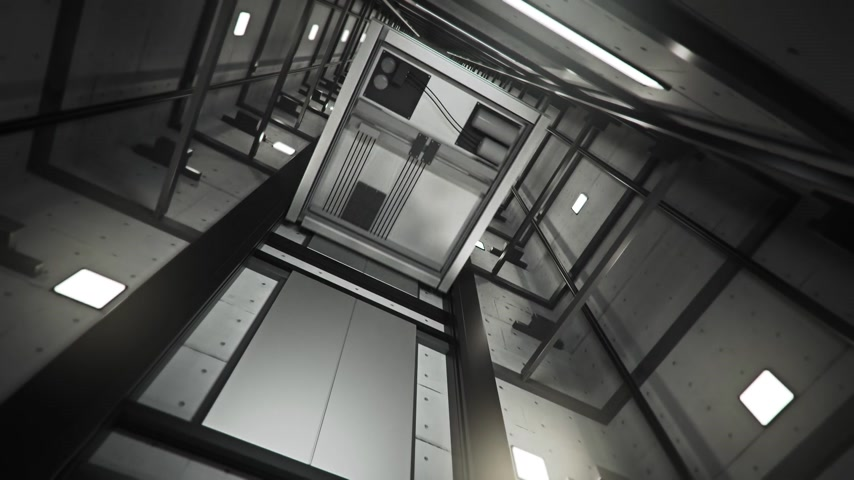 glass building : Inside of Elevator Shaft With Moving Elevator.