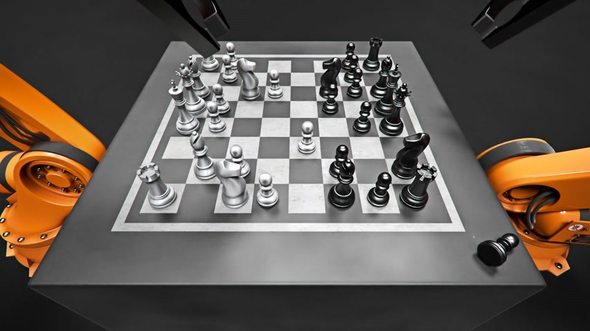 umělý : Two Assembling Robotic Arm Playing Chess