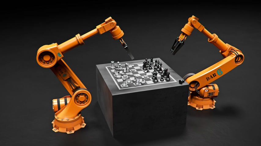 indústria : Two Assembling Robotic Arm Playing Chess