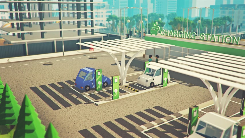 Electric Cars Recharged At Electrical Charging Station