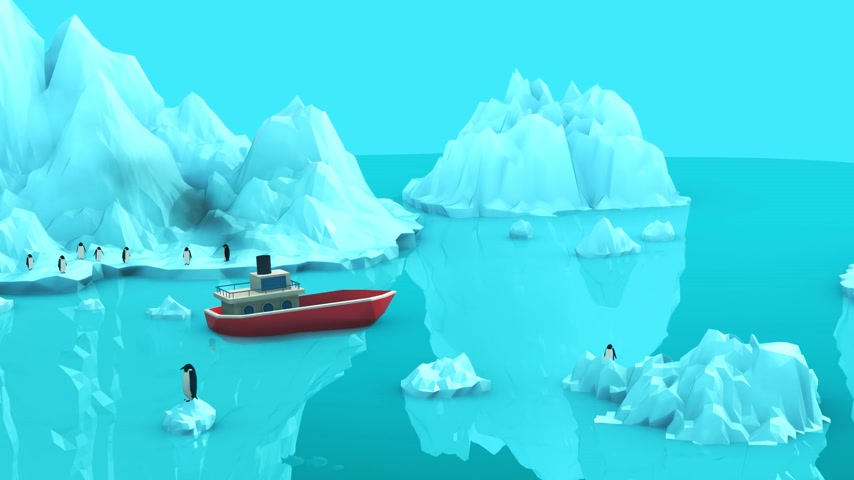 Boat Moored Near Iceberg In Ocean With Penguins And Fish Undersea