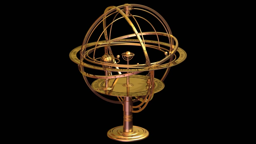 astroloji : Armillary Sphere with matte. Loop animation. Stok Video