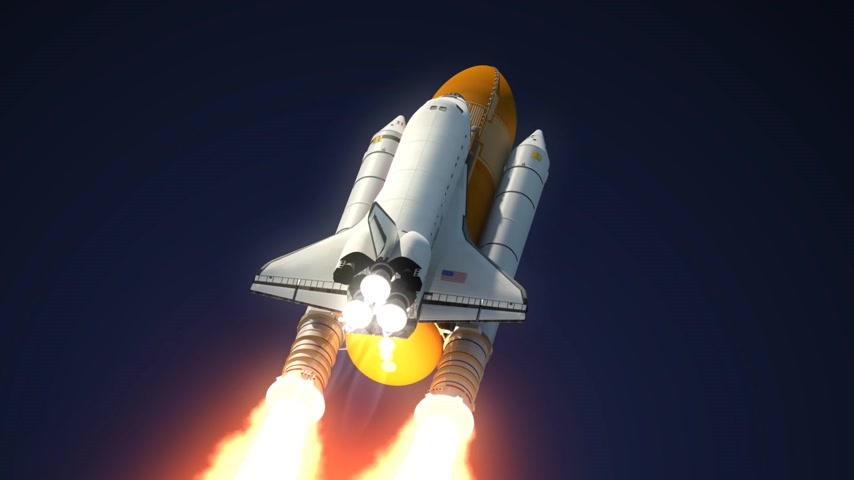 rakieta : Space Shuttle Solid Rocket Boosters Separation. 3D Animation. Wideo