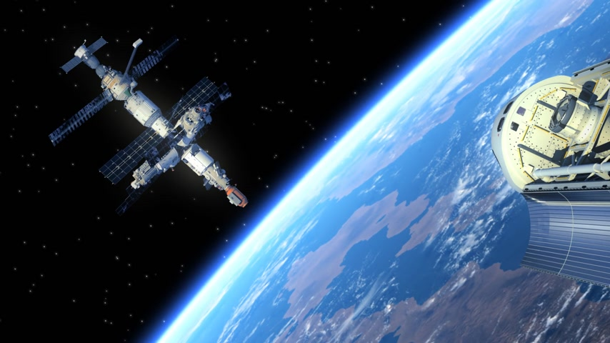 pokrok : Space Station And Space Shuttle. 3D Animation.
