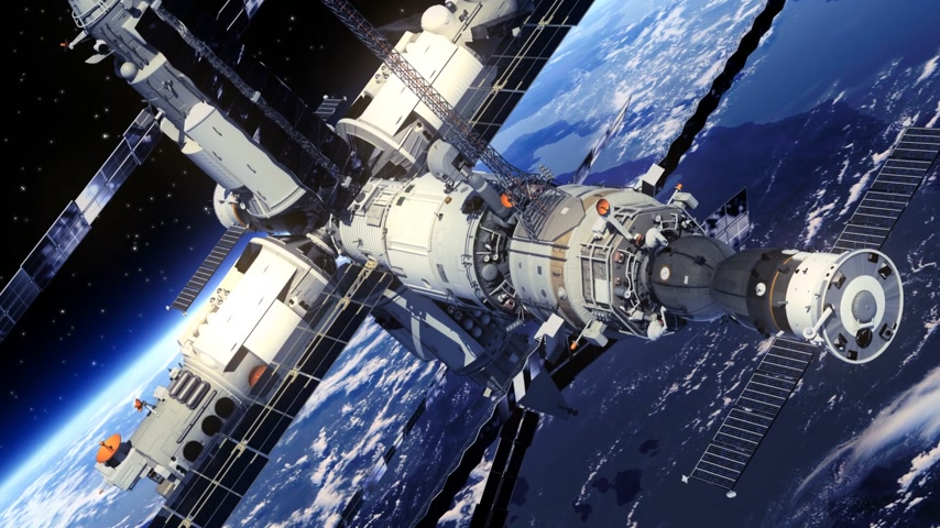 raket : Space Station Orbiting de Aarde. 3D-animatie.